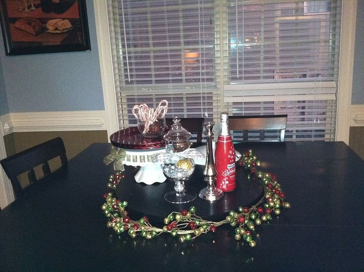 Beaded garland wrapped around the lazy susan