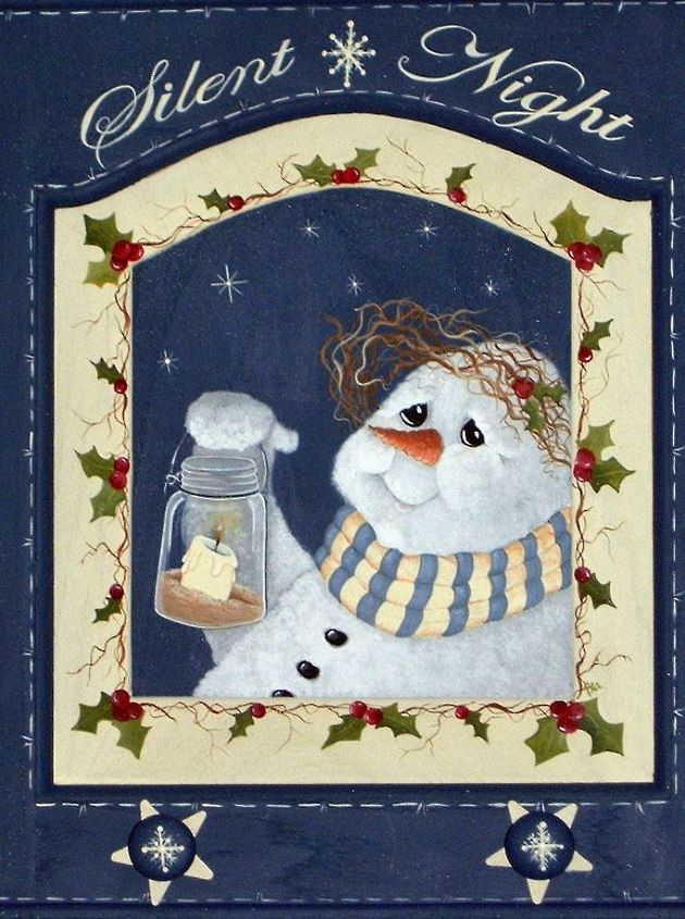 Snowman and Lantern by GranArt. This is painted on a wood cabinet door using acrylic paint.