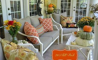 2013 fall porch, outdoor furniture, porches, seasonal holiday decor, Porch decorated for Fall with natural elements and specialty pumpkins pillows in shades of rust blues and browns mums and flowers
