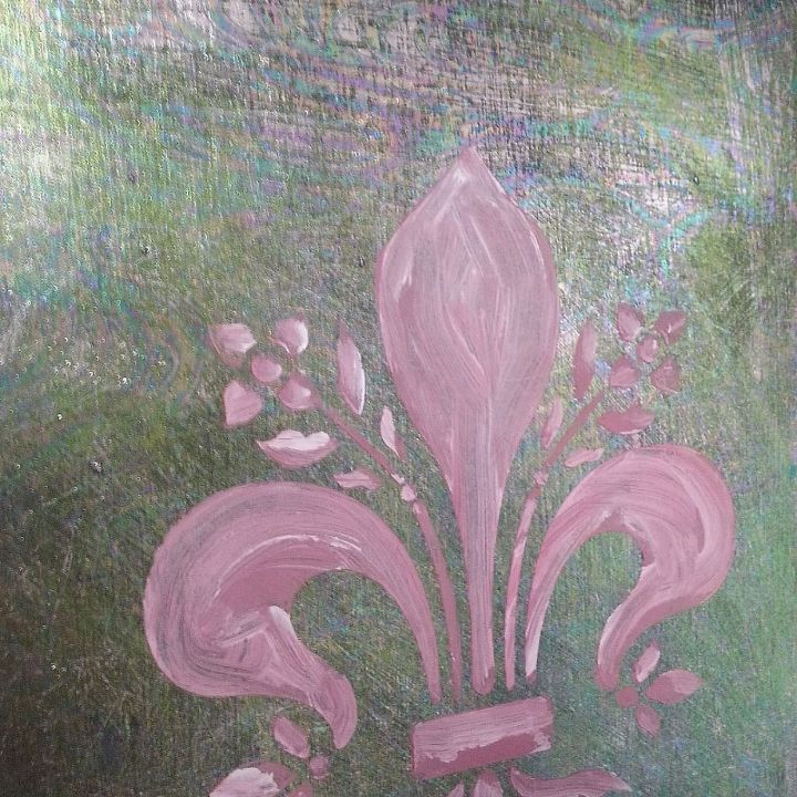 Foils on old board with Artisan Enhancement Pearl Plaster mixed with Emperor's Silk Chalk Paint®