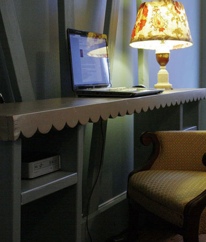 scalloped truss desk, home decor, painted furniture