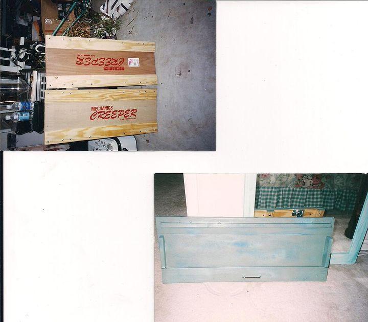shoe trolley, repurposing upcycling, storage ideas, having fun with mechanic s creeper
