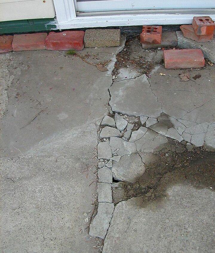 long crack from patio door across length of patio