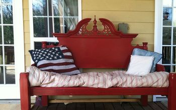 an outdoor bench made from an old queen bed frame, diy, outdoor furniture, outdoor living, painted furniture, repurposing upcycling, Ta Da