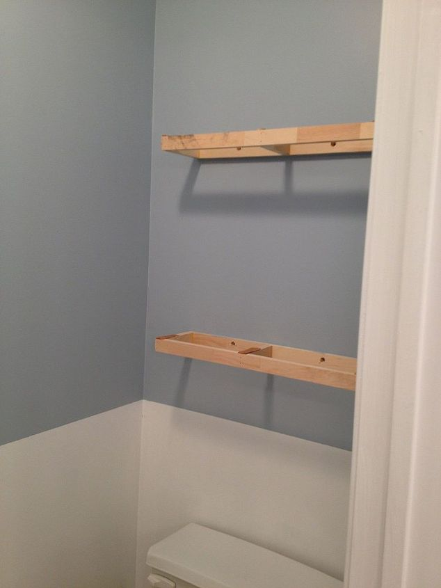 large bathroom mirror redo to double framed mirrors and cabinet, bathroom ideas, home decor, shelving ideas, the supports for the floating shelves