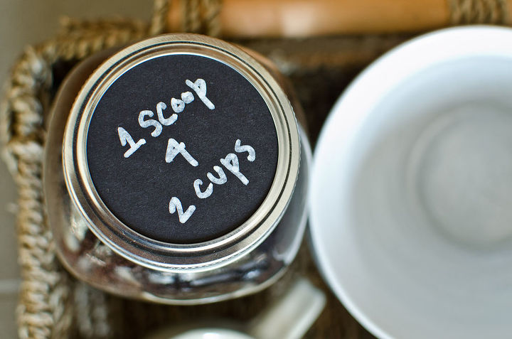 Store ground coffee in a mason jar to keep it fresh.  Use the same black cardstock and white Sharpie marker to label the lid with measuring instructions.