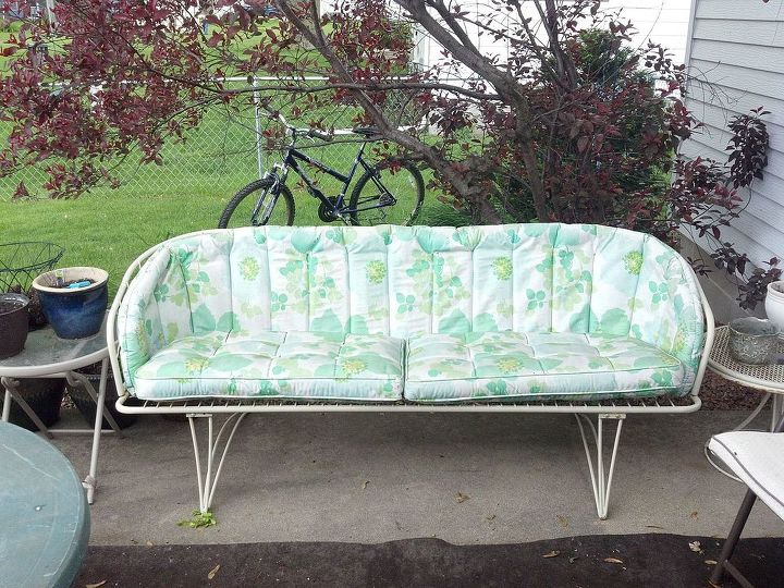 Refurbished Vintage Patio Couch Painted Furniture Reupholster