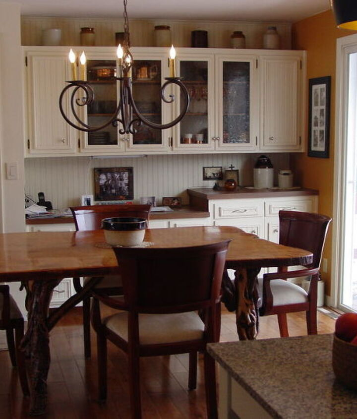 Dining area and built-in desk and china cabinet.