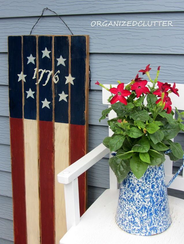 Red flag with white flower gallery flower decoration ideas my potting bench has gone red white blue hometalk my potting bench has gone red white mightylinksfo