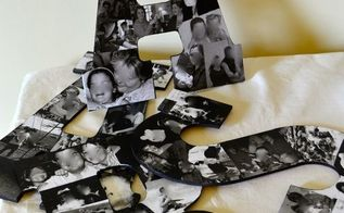 diy photo collage letters wall decor, crafts, home decor, Letters filled with family photos make a great keepsake