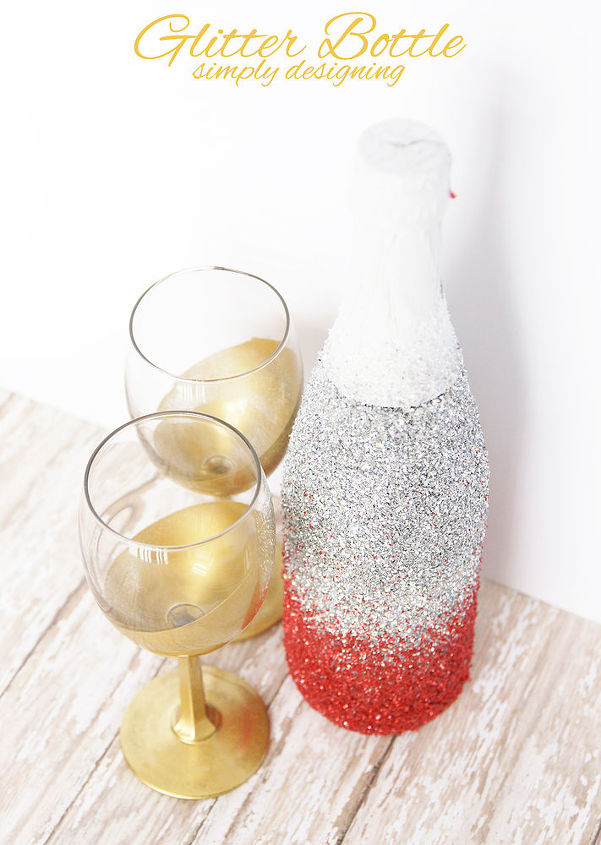 glitter champagne or wine or sparkling cider bottle, crafts, repurposing upcycling