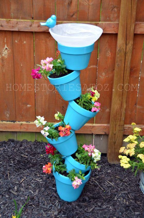 i made this topsy turvy planter birdbath and i show you step by step how to create, gardening, DIY Garden Planer Bird Bath