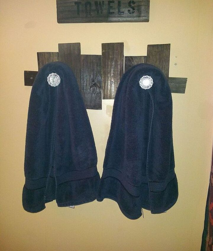 Pallet board towel holder.