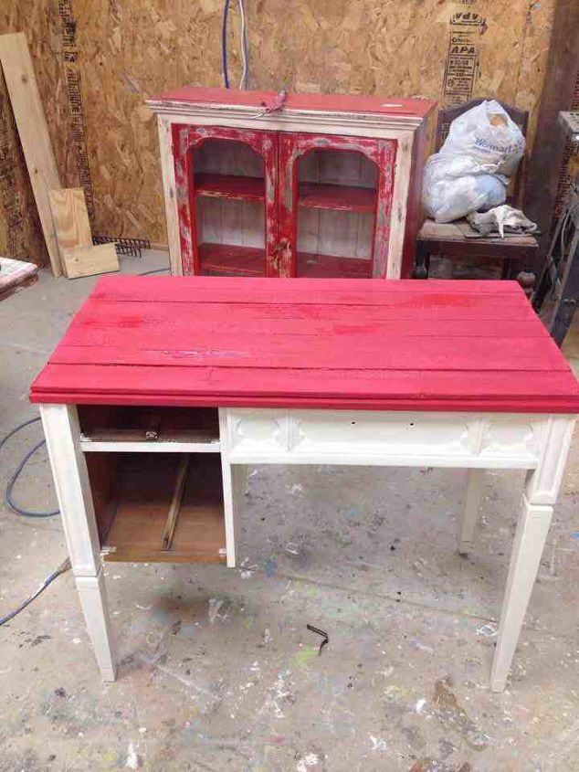 Here is the sewing cabinet with paint before I shabbied and glazed