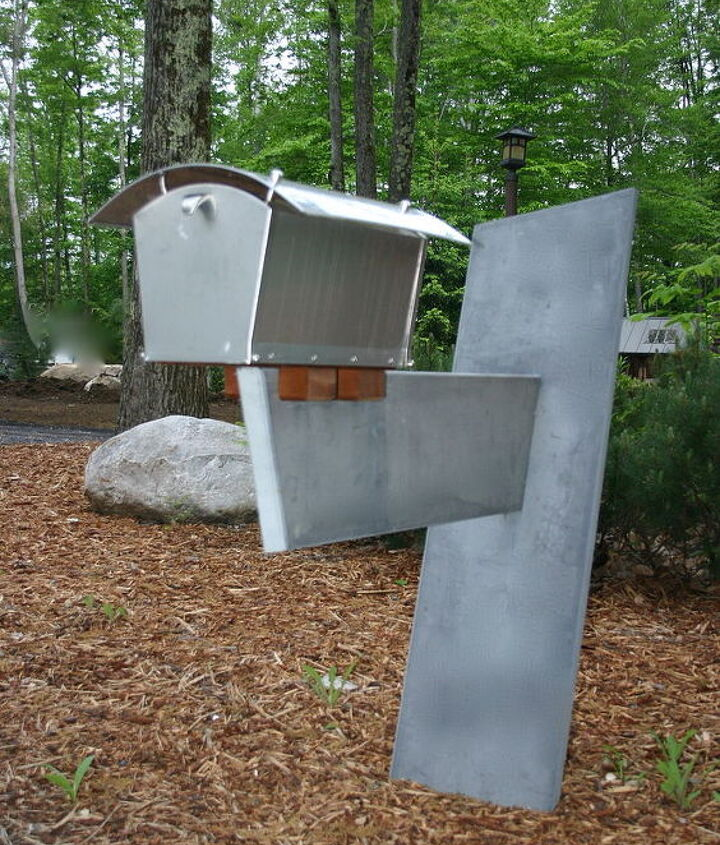 One of kind Mail Box created from two slabs of local slate, stainless DaVinci box and cedar wood block supports.  Design, Art and Architecture