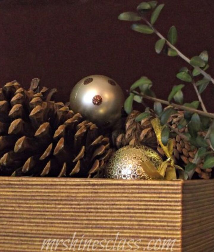 another simple vignette with a sprig of holly from outside.