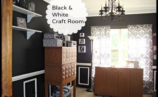 dining room turned awesome black and white craft room, craft rooms, home decor, Card catalog turned craft storage and a very large fold out sewing table