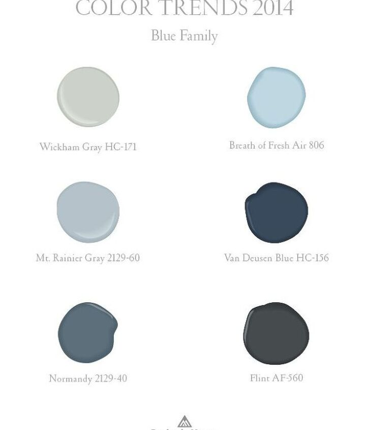 These Benjamin Moore colors are easy to work with and work well with the whites and grays of recent years.