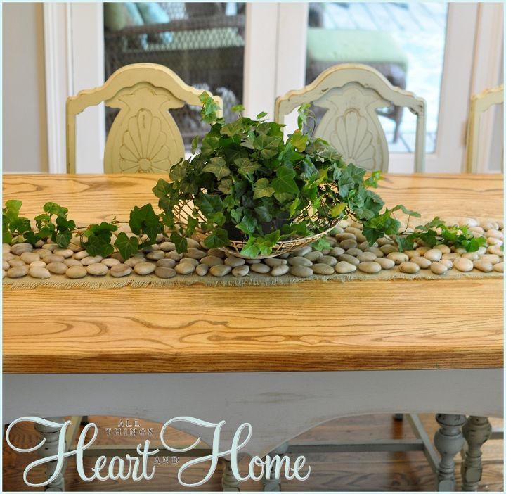 The stone table runner adds a bit of a natural vibe to the farmhouse table~ thanks for reading! xo