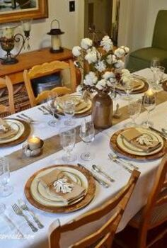 cotton on our thanksgiving table, seasonal holiday d cor, thanksgiving decorations, Rustic and Refined Thanksgiving Tablescape