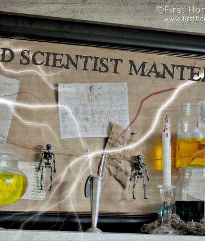 mad scientist halloween mantel, halloween decorations, seasonal holiday d cor