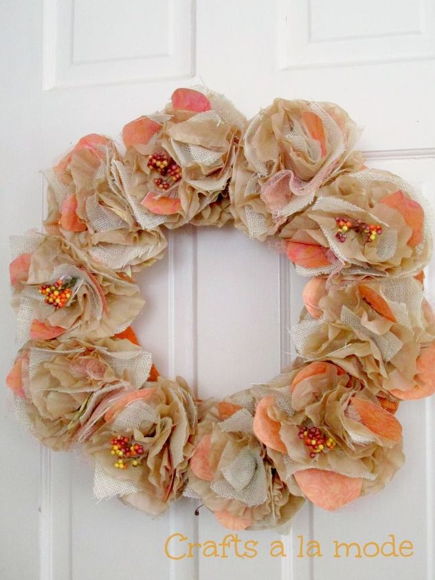 fall burlap and coffee filter wreath, crafts, repurposing upcycling, seasonal holiday decor, wreaths, Burlap and Coffee Filters