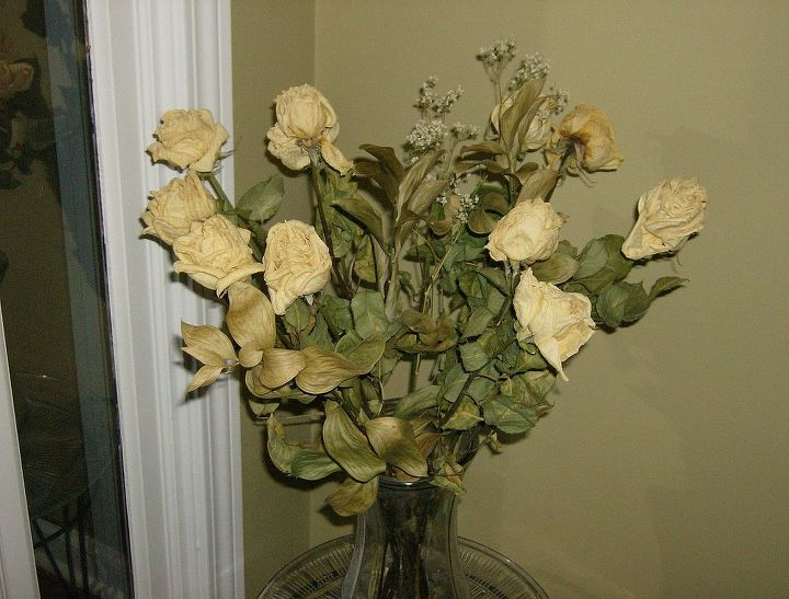 dried flower arrangements, crafts, home decor, Ivory Roses