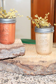 painted fall mason jars, crafts, mason jars, painting, adding floral and placing on wood pieces cut from wood stump