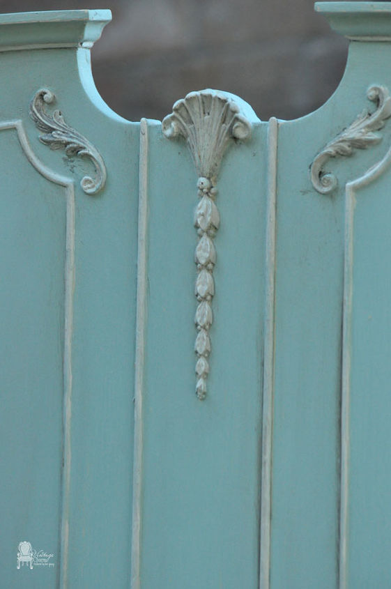 Benjamin Moore Spring Sky and Maison Blanche Magnolia details.  MB clear and Fiddes Jacobean wax.