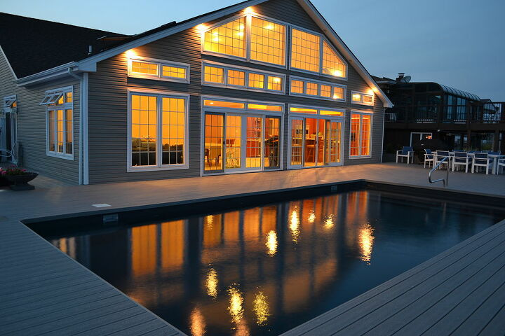 hot off the press pool and spa photos from a photos shoot i just finished in, decks, outdoor living, patio, pool designs, spas, House in Babylon Long Island reflecting in the rectangular vinyl pool