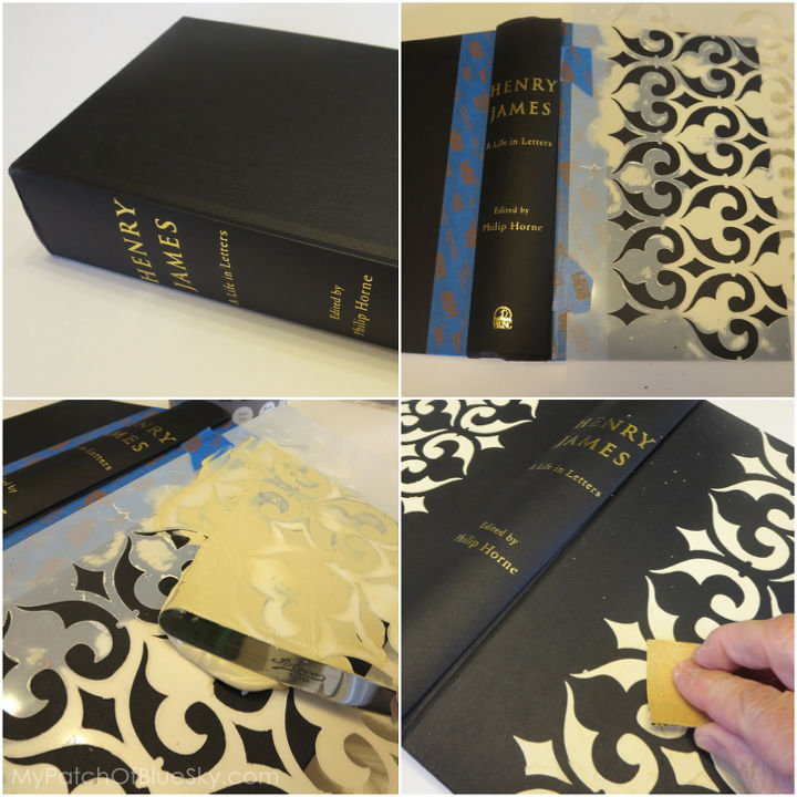 """Just begin with a book from your attic. Tape off an area for the imitation gold leaf, then center a stencil in position. Use an off-set knife to """"butter"""" on Wood Icing™ Textura Paste."""
