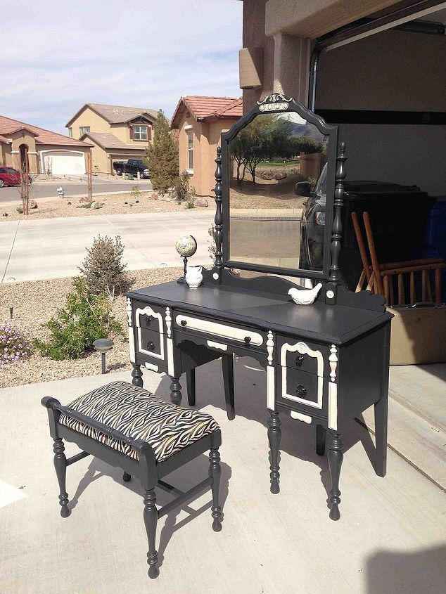 before after antique vanity, painted furniture