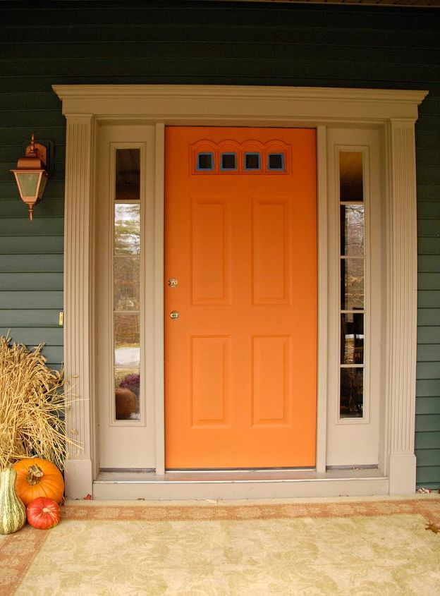 Front door redo using faux wood grain technique hometalk for Exterior door paint