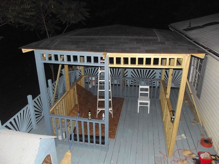 updated and transformed deck to oasis of serenity, decks, diy, how to, outdoor living, porches, woodworking projects, well it took many sleepless nights of studying and soul searching but Donnie finally decided how he wanted to construct the perfect roof HE WAS ADAMANT THAT IT WOULDNT BE FLAT