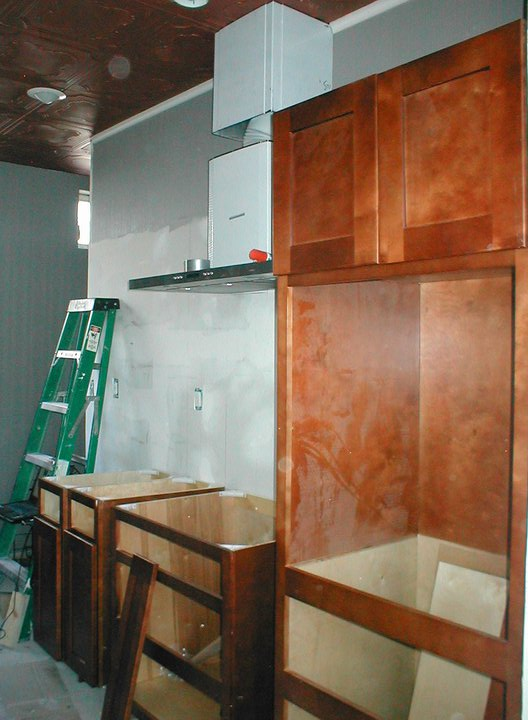 cabinets going in...