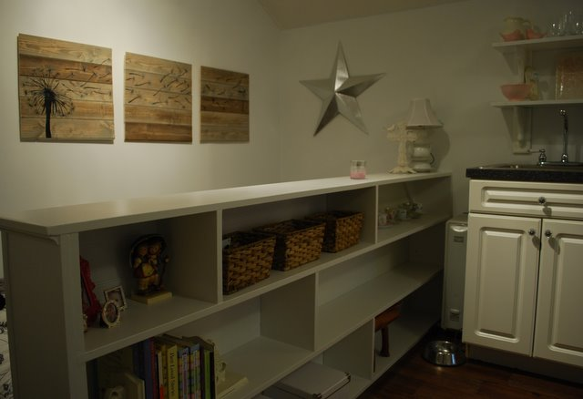 The wall art was a pinterest inspired project using leftover wood from the back wall.