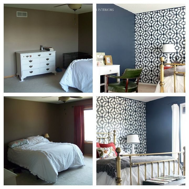 navy gold coral master bedroom, bedroom ideas, home decor, painting