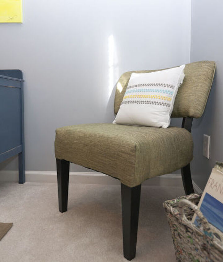 This chair I picked from TJ maxx and the book basket is made from recycled magazine papers, from TJ Max as well.