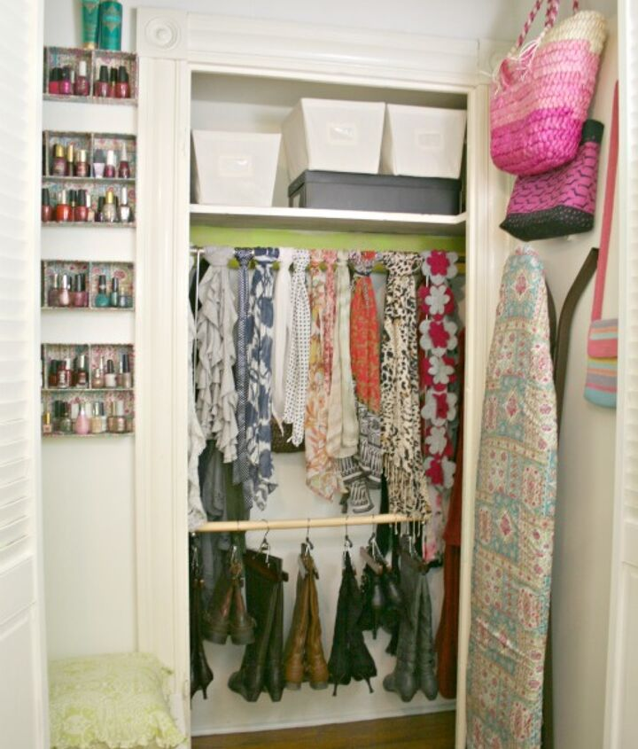 tiny original closet in the back of this closet for hanging boots/displaying scarves