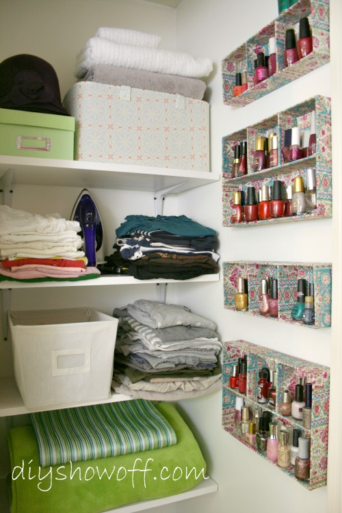 shelves and accessory trays for organization, better use of wasted space