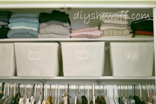 adding shelving above hanging clothes maximizes storage