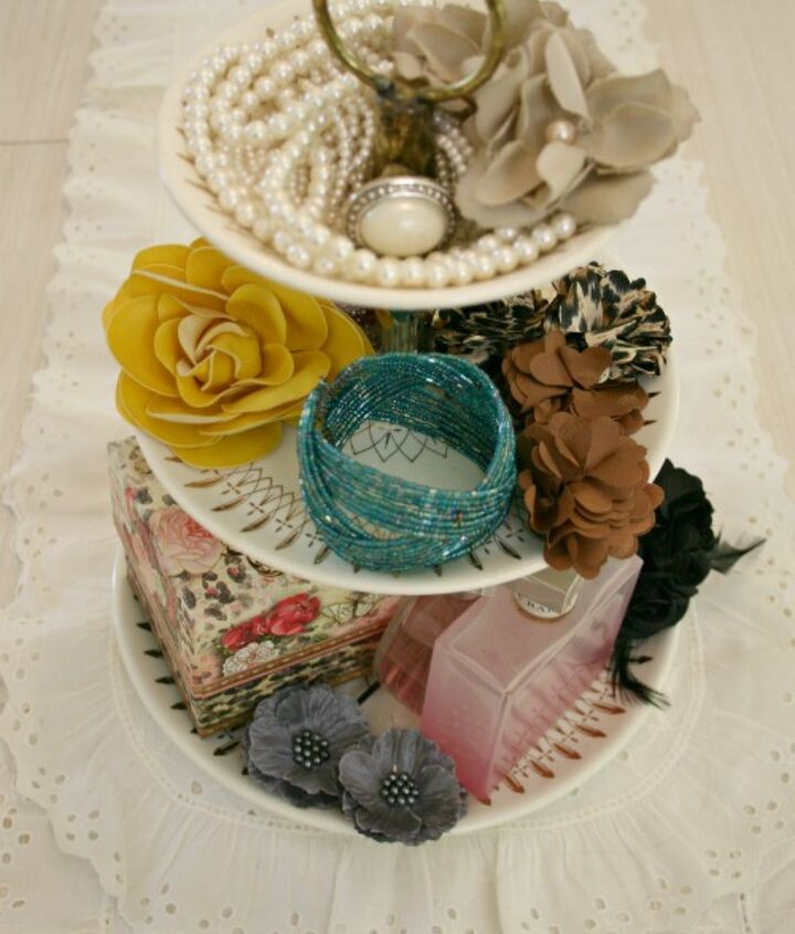 thrift store tiered candy dish holds favorite accessories