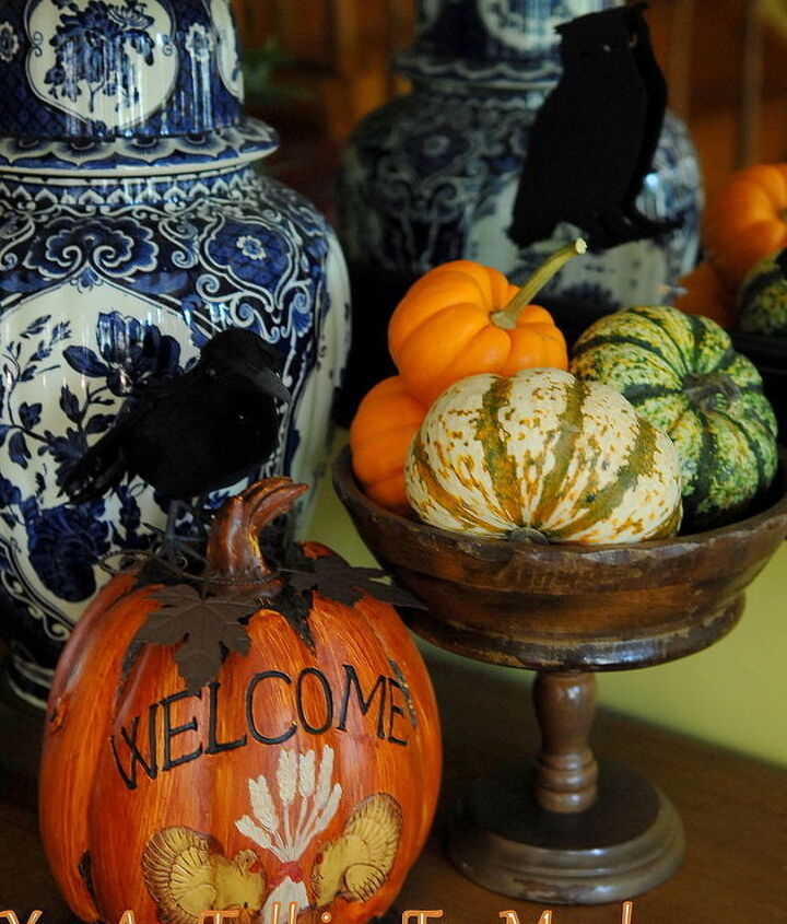 Thrifted fruit bowls, dollar tree raven, walmart gourds and pumpkins.