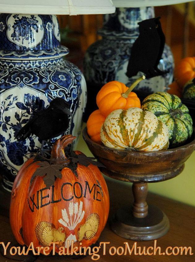 Thrifted fruit bowls, dollar tree raven, walmart gourds and pumpkins.