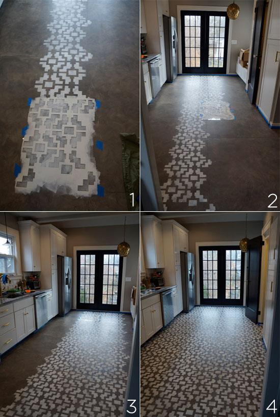 In-process photos of stenciling a Shipibo floor