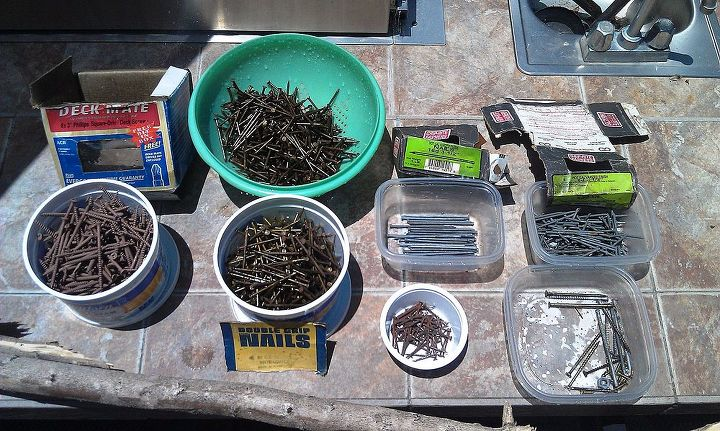 I found this great stash of nails and screws at an abandoned tack room covered in dust.  A quick rinse and they were good to go.