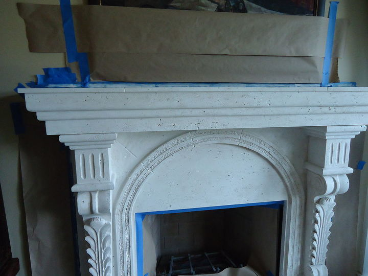 a fireplace needed something so we painted it with a product containing limestone, fireplaces mantels, home decor, voilla quick fix to a dull stone