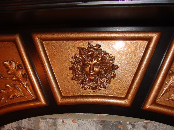 """I pained the copper pieces of the mantle with a """"hammered copper"""" textured paint and it came out great!!"""