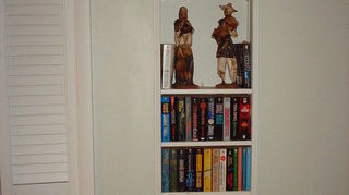 q can you share with us some innovative bookcase and exposed storage shelving in you, home decor, painted furniture, shelving ideas, storage ideas, Hole in the wall