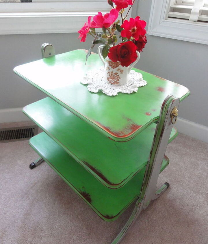 Annie Sloan chalk paint over slick laminate finish, no prep, no problem! Antibes Green and Paris Gre